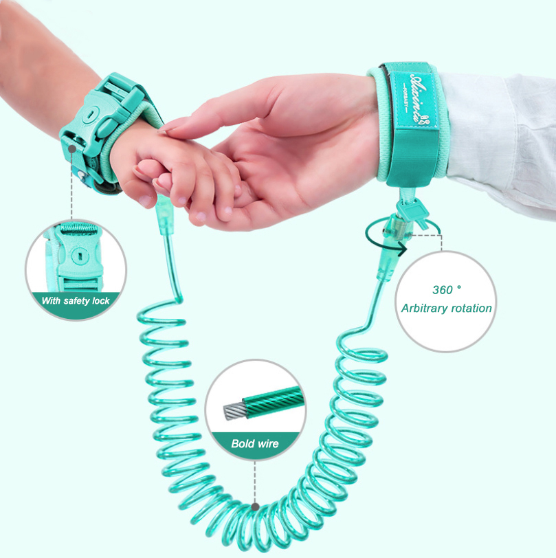 360 Degree Infant Baby Seat Selt Selt Child Anti-lost Wrist Child Safety Wrist Chain Lead Rope 1.5 / 2.5M