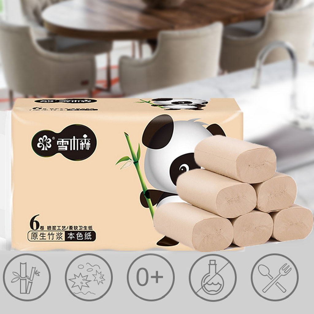 Toliet Paper 6pcs Roll Paper Bath Tissue Paper Roll  4 Layer Thickened Household Paper Toilettenpapier Toiley Rolling Paper #40