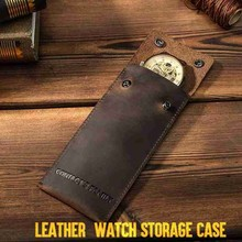 150*70*8mm PU Genuine Leather Watch Box Storage Bag Portable Travel Jewelry Watch Pouch Bag Case For Men Watch Accessories
