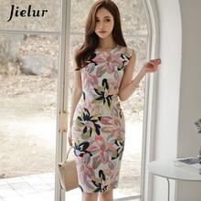 Jielur ผู้หญิง Sundress ดอกไม้พิมพ์สบายๆชุดลำลองแฟชั่นฤดูร้อน Bodycon VINTAGE Vestido De Renda