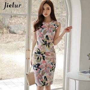 Image 1 - Jielur frauen Sommerkleid Floral Print Sleeveless Elegante Casual Kleid Mode Sommer Mini Kleid Bodycon Vintage Vestido De Renda