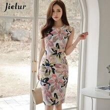 Jielur kadın Sundress çiçek baskı kolsuz zarif rahat elbise moda yaz Mini elbise Bodycon Vintage Vestido De Renda