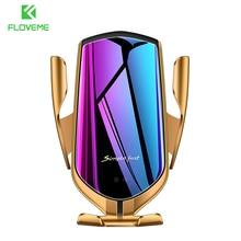 Cargador inalámbrico R1, soporte para teléfono de coche para Samsung S10 S9 S8 Qi, cargador inalámbrico, Sensor infrarrojo, sujeción automática, soporte para teléfono