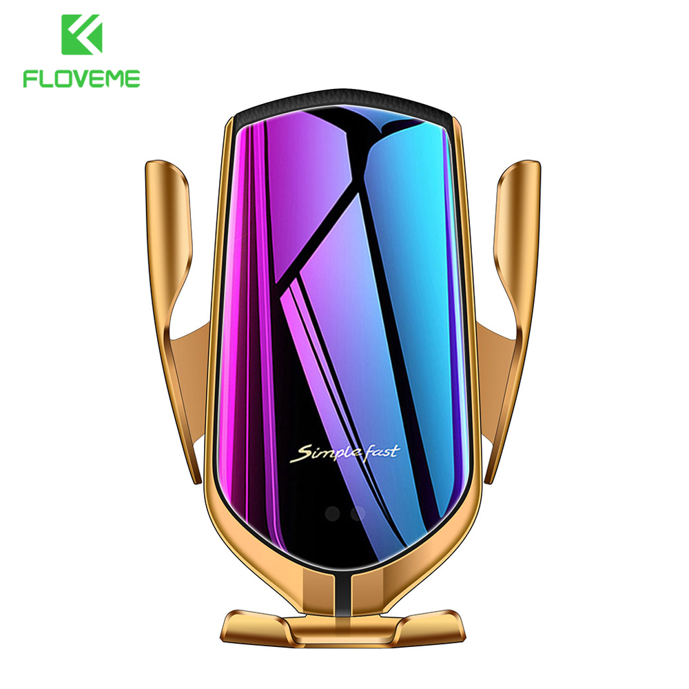R1 Wireless Charger Car Phone Holder For Samsung S10 S9 S8 Qi Wireless Charger Infrared Sensor Automatic Clamping Phone Holder