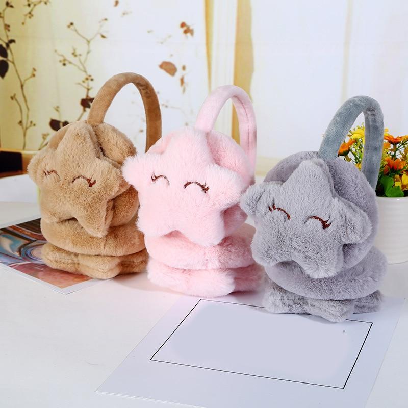 Autumn Winter Warm Earmuffs Stars Plush Ear Cover For Women Comfortable Soft Faux Fur Ear Warmer Lovely Cute Children Ear Muffs