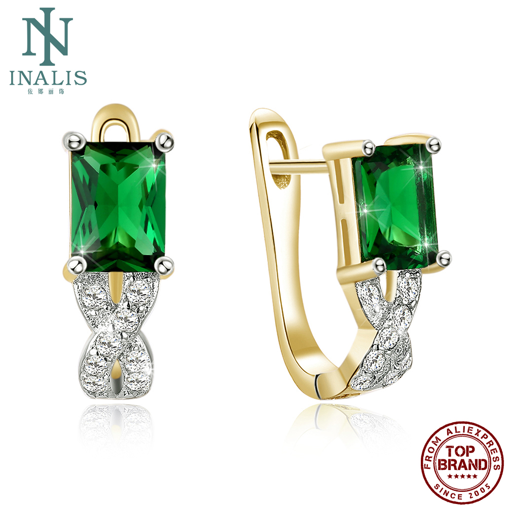 INALIS Square-Shape Stud Earrings For Women Green 5A Clear Cubic Zircon Anniversary Earring Simple Fashion Jewelry New Arrival