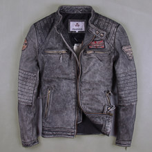 Men Vintage Gray Motorcycle Leather Jackets Genuine Cowshin China Size M-6XL Biker Jackets Winter Coats(China)