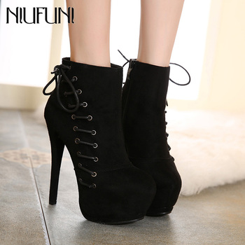 NIUFUNI Women's Autumn Winter Shoes Fashion Cross Tied Platform Ankle Boots 15cm Ultra High Heels Round Toe Botas Mujer nancyjayjii purple ruffles knee high boots zipper winter round toe spike heels women shoes woman botas botines zapatos mujer
