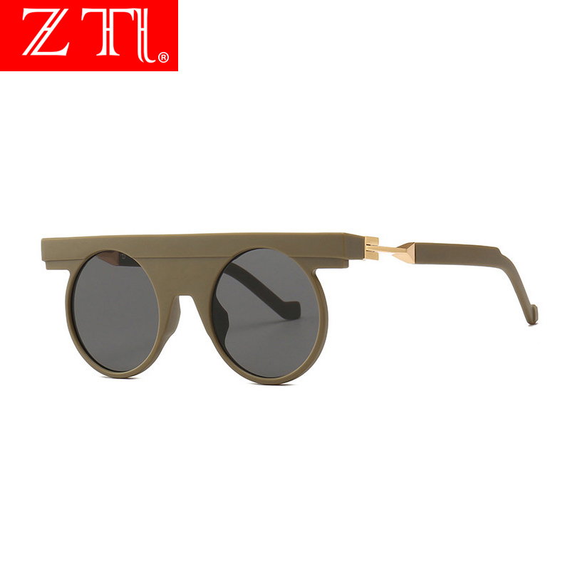 ZT Unique Round Sunglasses Mens Flat Top Gothic Women Matter Shades Gafas Oculos De Sol