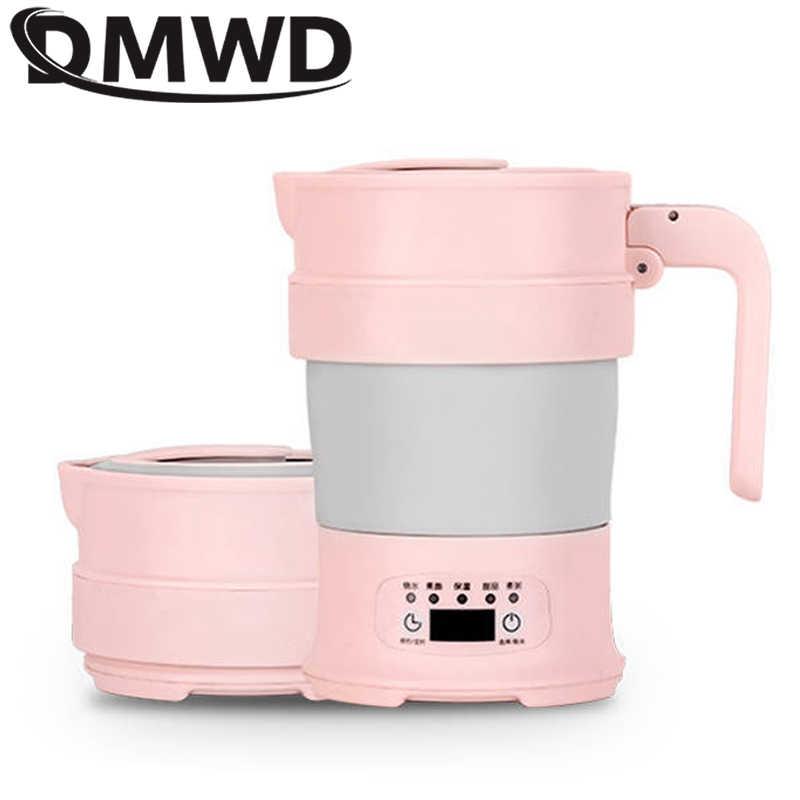 DMWD Portable Foldable Ketel Listrik Double Tegangan Silikon Ketel Mini 0.7L Air Panas Boiler Pemanas Teh Pot Heater 220V