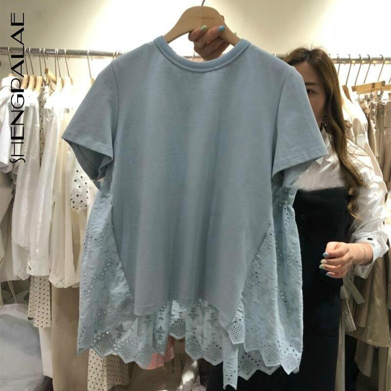 SHENGPALAE 2020 New Lace Patchwork Tshirt Korean Causal Short Sleeve O-neck T-shirt Spring Summer Sweet Loose Tee Tops ZA3459