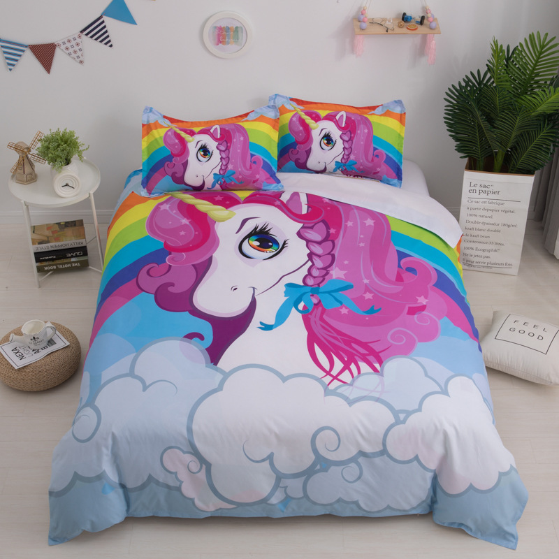 Image 2 - 3D Cute Unicorn Bedding set Duvet cover and pillowcases EU / AU /US size for girls-in Bedding Sets from Home & Garden
