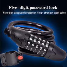 Bike password  Lock 5 Digit Code MTB wire Combination safe Bicycle Security Steel Cable Spiral safety Cycling