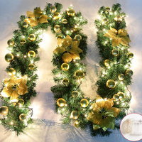 Christmas Tree Hanging Ornament 2.7M Rattan Decoration Party Colorful Garland Encryption with Lights Wedding Home Outdoor
