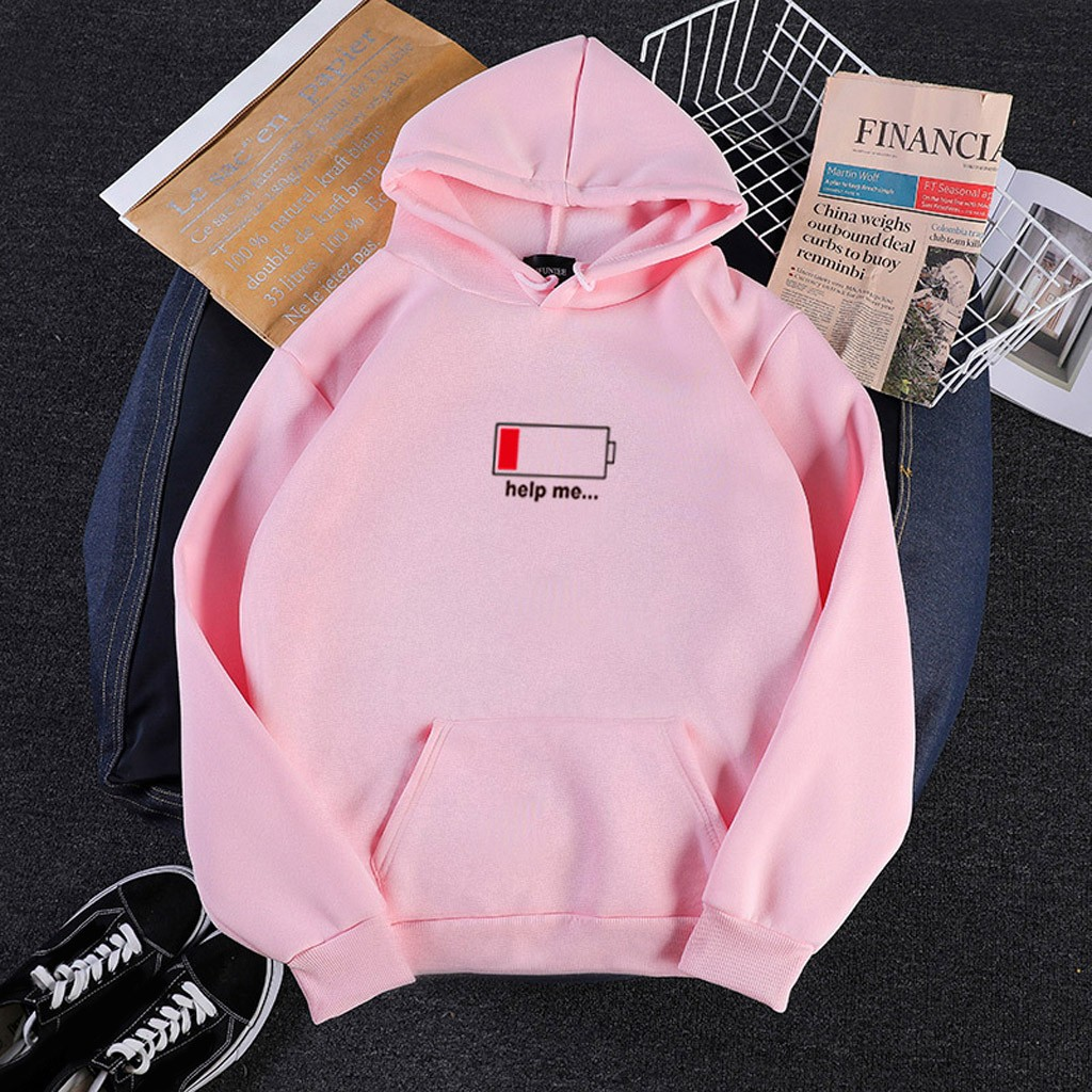 Women Low Power Print Hoodies Sweatshirt Cute Kawaii Help Me Letter Japanese Hooded Sweatshirts Long Sleeve Hoodie Pullover Tops