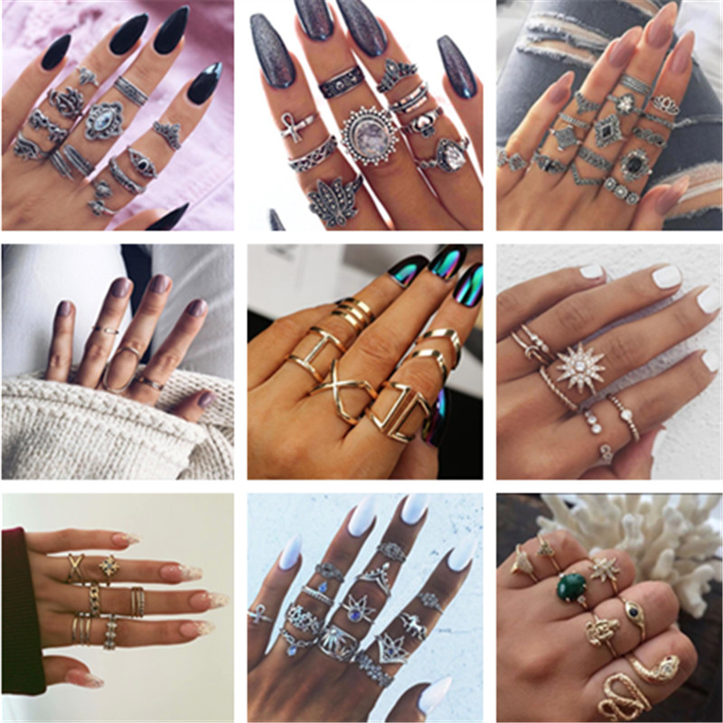 25 Style Crystal Heart Leaf Knuckle Rings Sets for Women Vintage Midi Finger Rings Jewelry Boho Silver Party Bague Female SALE