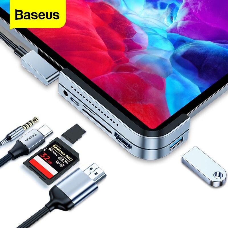 IPad Pro 12.9 용 Baseus USB C 허브 11 2020 2018 유형 C 허브-HDMI USB 3.0 PD 포트 3.5mm 잭 USB-C MacBook 용 USB 허브 어댑터