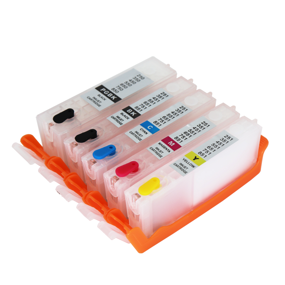 PGI-550 CLI-551 чернильный картридж для CANON MG5450 MG5550 MG6450 ip7250 MX925 MX725 IX6850 PGI550 CLI551 5 шт. многоразового использования чернил cartr