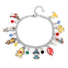 Birthday Christmas Gift Anime Enamel Animal Jewelry Lovely Winnie Pooh Bear Edward Mr Sander Bracelet Women Bangle For Kids