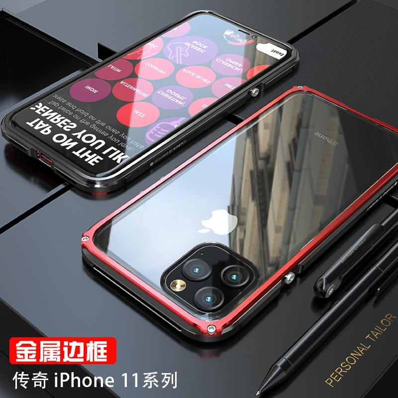 Armadura De Metal de Alumínio do Caso do Quadro Para o iphone 11 Pro Max Caso Heavy Duty 11 Pro Caso Capa de Proteção Para iPhone X XR XS Max Coque