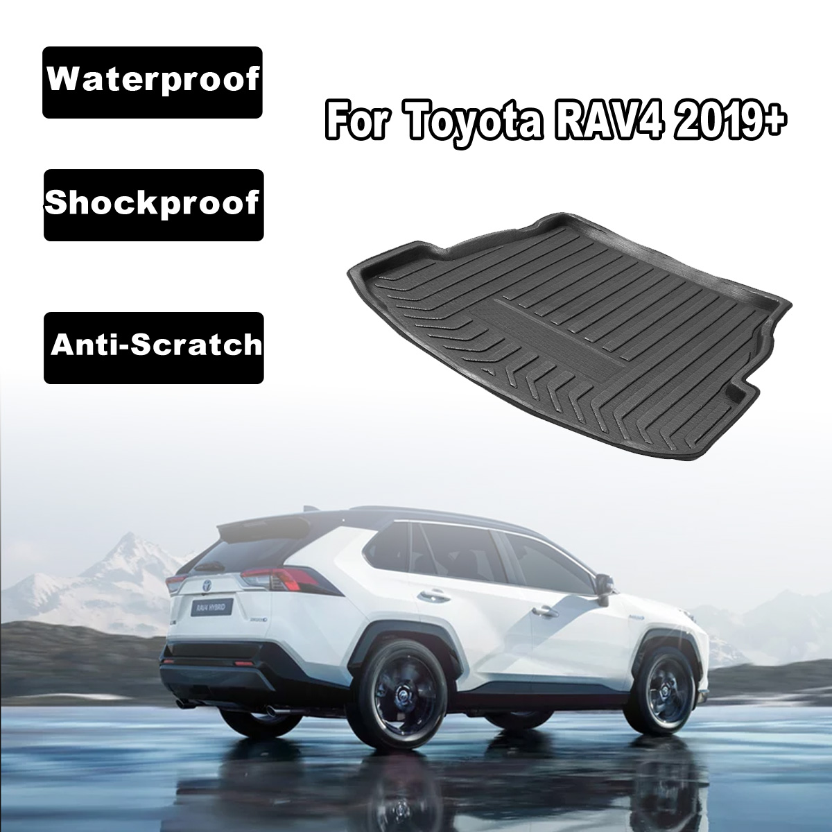 Car Rear Trunk Boot Liner Cargo Mat Luggage Tray Floor Carpet Mud Protector Car Accessories Replacement For Toyota RAV4 2019+