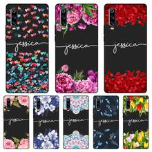 Fashion flower Custom Name DIY Black Soft TPU Silicone Case Cover For Huawei P8 P9 P10 P20 P30 Lite Pro P Smart Plus 2017 2019
