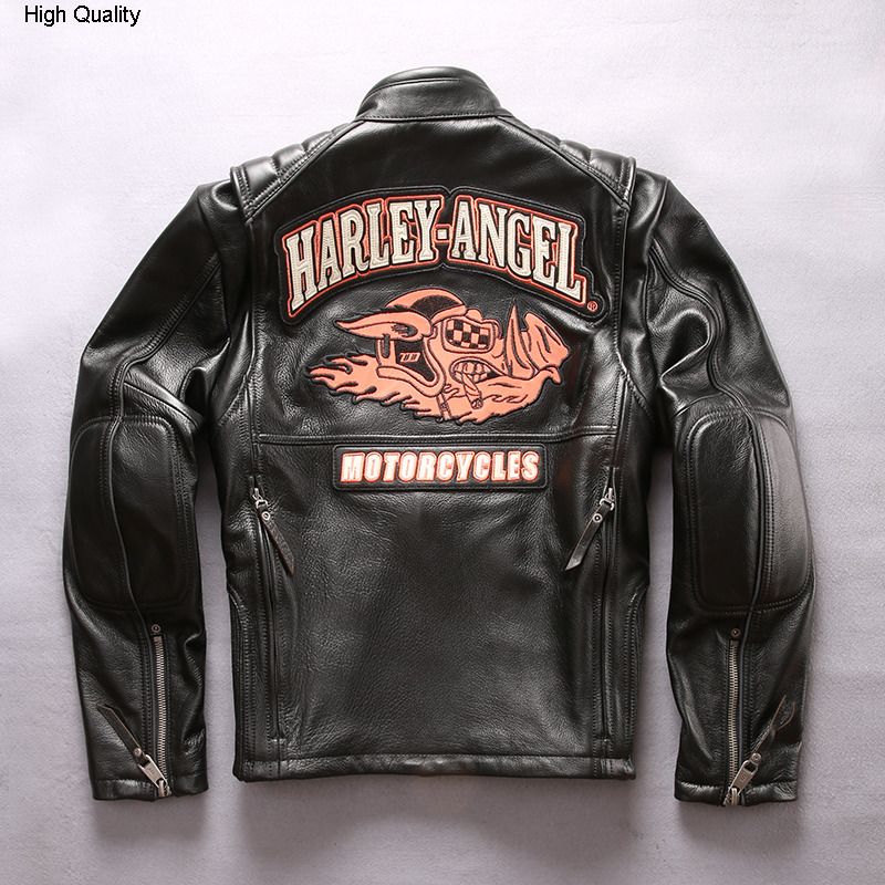 Pig Pattern Motorcycle Leather Jacket Men Stand Collar Slim Fit Profession Moto Biker Jacket Men Genuine Leather Coat Male