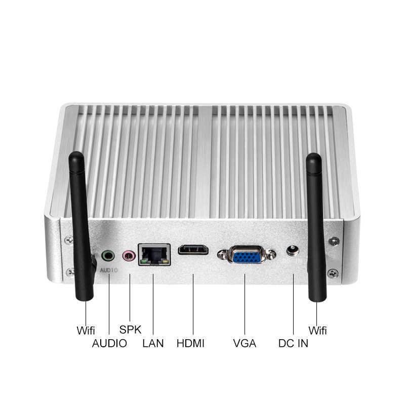 Xcy Quạt Không Cánh Mini PC Intel Core I7 I5 7200U I3 7100U Linux Windows 10 Máy Tính Để Bàn Chơi Game Minipc Micro NUC HTPC Công Nghiệp 4K