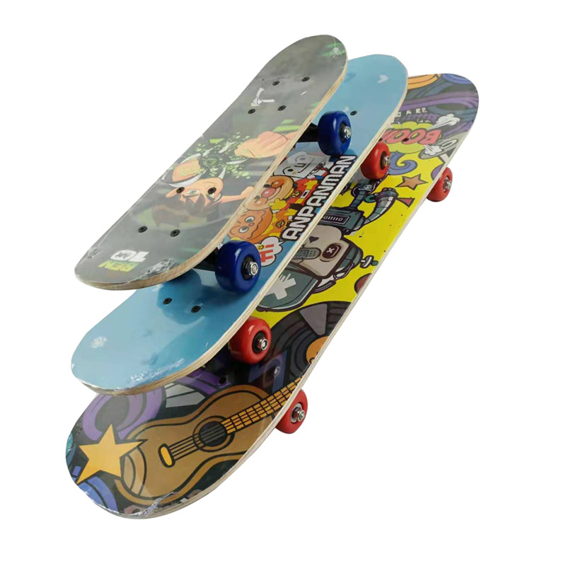 Manufacturers Direct Selling Four Wheel Children's Skateboard 17/24/28/31-Inch Cartoon Wooden Skateboard Adult Long Board Activi