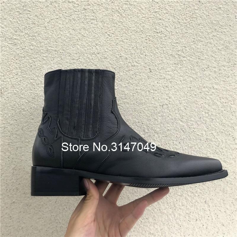 Прошитая Мужская безопасная обувь без застежки; рабочие ботинки из натуральной кожи; мужские ковбойские ботинки с острым носком; модная мужская зимняя обувь - 3