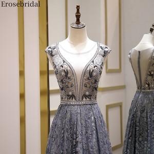 Image 3 - Erosebridal Luxury Beads Evening Dress Long See Through Body A Line Prom Dress 2020 Small Train Unique Neck Design Zipper Back