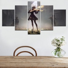 Modular Picture Wall Art Decor Game Poster Canvas Print 5 Panel NieR Automata 2B Play Violin Painting For Living Room