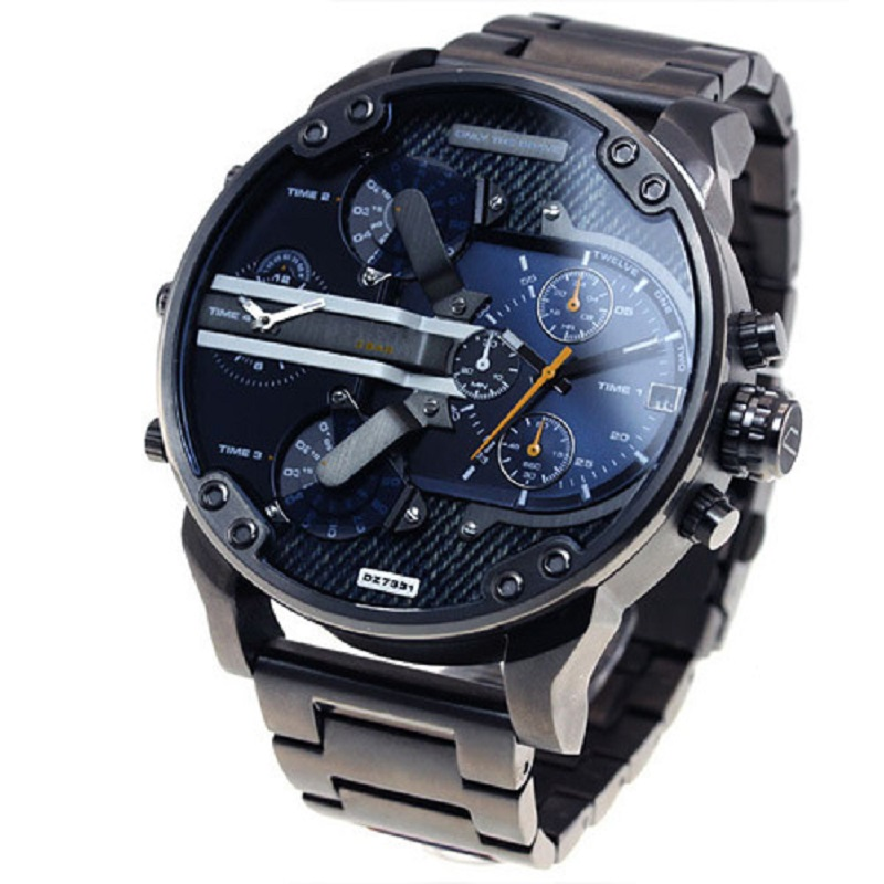 DZ Watch Fashionable Cool Large Dial Casual Alloy Steel Belt 7333 Quartz Casual Watch