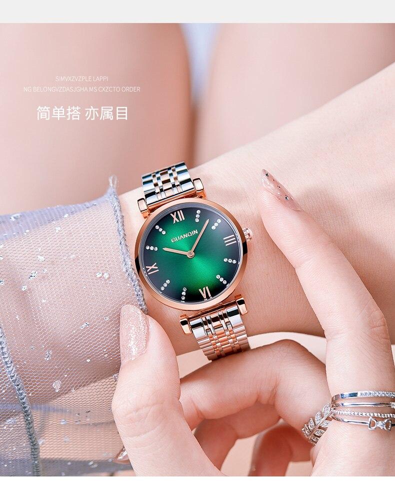 Woman Watch 2019 GUANQIN GS19122 Quartz Luxury Brand Ladies Watch Green Waterproof Simple Fashion Wrist Watch Tool Dropshipping (4)