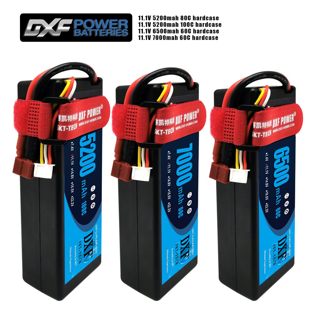 2PCS DXF Battery Lipo 3S 11.1V 5200mah 6500mah 7000MAH 50C 60C 100C 120C 200C Hardcase for RC Evader BX Car Truck Truggy Buggy(China)