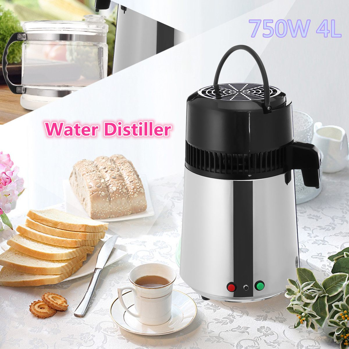 4L 750W Pure Distiller Distilled Water Machine Household Stainless Steel Water Purifier Container Filter Distilled Water Machine|Water Filters| - AliExpress
