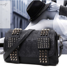 цена на Women PU Leather Handbags Rivet Black Bags Totes Crossbody Women Shoulder Bags Brand New Fashion Handbags