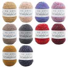 1 Roll 100g 6 Strands Worsted Colorful Wool Crochet Knitting Yarn Medium Thick for DIY Hand Sewing Sweater Hat Coat F19 21
