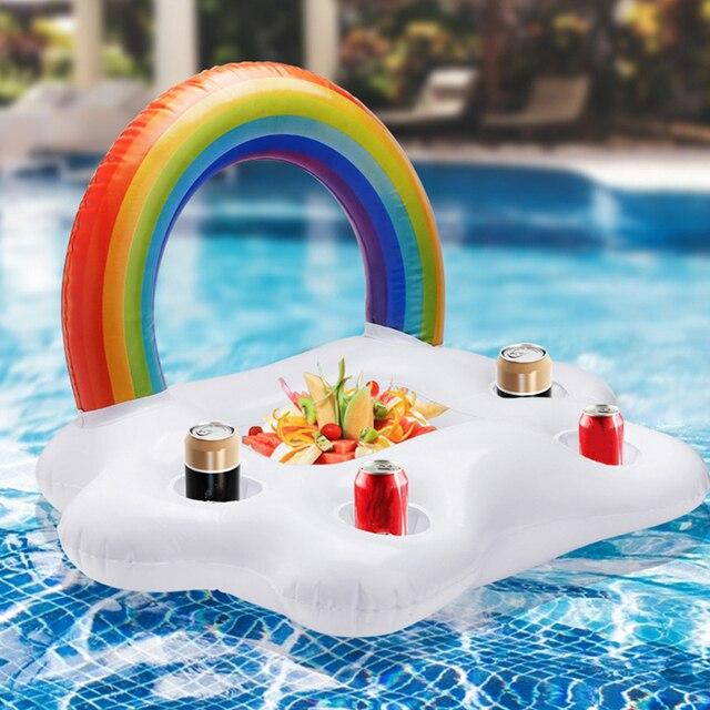 풍선 풀 플로트 맥주 마시는 쿨러 테이블 바 트레이 비치 수영 반지 여름 풀 파티 양동이 레인보우 클라우드 컵 홀더