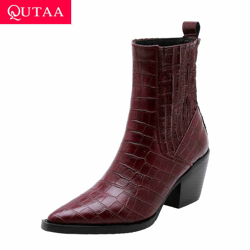 Qutaa 2020 Mới Thu Đông Da PU Mũi Nhọn Ngắn Giày Gót Vuông Nữ Giày Nữ Trơn Trượt Trên Tất Cả Các Trận Đấu Mắt Cá Chân giày Size 34-43