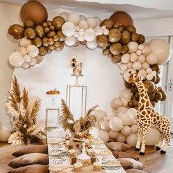Global Macaroon Cream Peach Skin DIY Balloons Garland Arch Kit Retro Coffee Ballon Wedding Birthday Baby Shower Party Decor