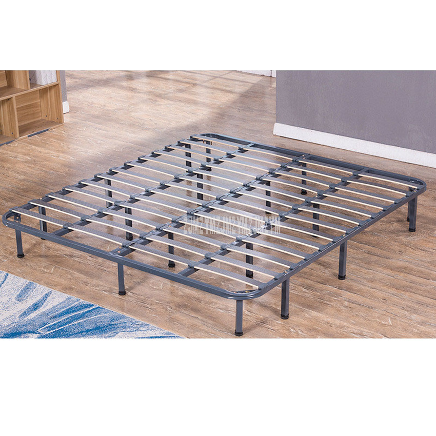 1.8*2m Foldable Iron Metal Bed Frame Bedstead Solid Wood Row Bedstead 18 Supporting Leg For Home/Hotel/Dormitory Apartment|  - title=