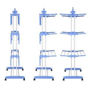 Prático 3-camada Airer Dobrável Portátil Prático Secador de Máquina De Secar Roupa Interior Ao Ar Livre Grande Airer Azul Domésticos Secagem rack