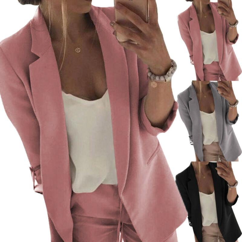 2019 New Autumn Fashion Women Casual Blazers Lady Long Sleeve Slim Blazer Suit  Work Formal Suit Plus M-3XL