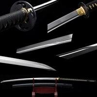 Naginata Series 56 Inch Japanese Katana 1060 High Carbon Steel Full Tang Razor Sharp Black Sheath Two Handle Samurai Sword