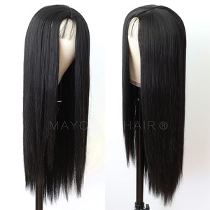 Image 2 - Maycaur Long Straight Black/Pink Synthetic Hair Wigs With Natural Hairline Heat Resistant Straight Wigs for Women