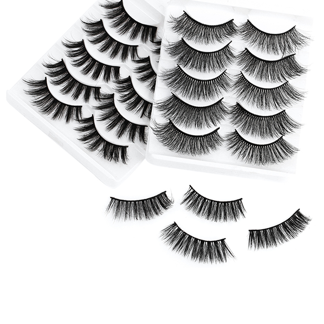 5 Pairs Multipack 5D Soft Mink Hair False Eyelashes Handmade Wispy Fluffy Long Lashes Nature Eye Makeup Tools Faux Eye Lashes 3
