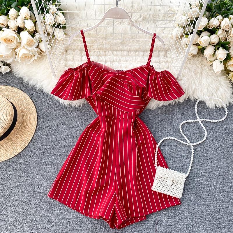 Модные летние полосатые комбинезоны для женщин, тонкие шорты на тонких бретельках с рукавами, женская пляжная одежда, комбинезон, Mujer
