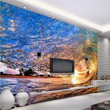 Papier peint panoramique 3d motif vagues de mer bleues, peinture sur mesure pour mur de chambre d'hôtel