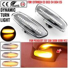 Đèn LED Bên Cột Mốc Sáng Blinker Cho Xe Đạp Peugeot 207 308 3008 5008 RCZ Tuần Tự Biến Tín Hiệu Đèn Báo